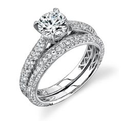 3 Sided Pave Set Diamond Engagement Ring with Matching Wedding Band Diamond 1.31cttw (center Stone Not Included)