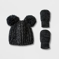 9fe11282e07 Toddler Girls  Lurex Pom Beanie Hat and Mitten Set - Cat   Jack™ Black 12- 24M