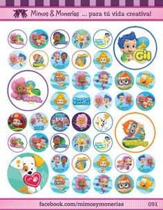 """Bubble Guppies Bottle Cap Images - 8.5"""" x 11"""" Digital Collage Sheet - 1"""" Circles for Hair Bows"""