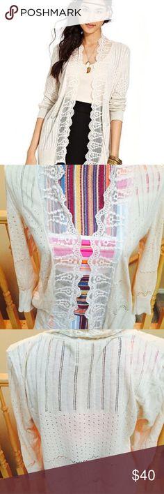 American rag lace cardigan Beautiful details! 3/4 sleeve, light grey cream colored cardigan American Rag Sweaters Cardigans