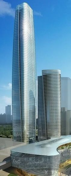 Gemdale Gangxia Towers, Shenzhen, China by WSP Architects and Kohn Pedersen Fox Associates :: height 380m and 180m. Lujoso y super alto, como haran con el agua en ese sector de la ciudad??