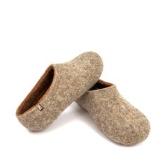 Men's organic felted wool slippers / DUAL NATURAL by Wooppers