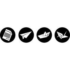 Kunst mit Papier - Ein gefalteter Papierflieger, ein Schiff und ein Origami Kranich aus ein Papierzettel.
