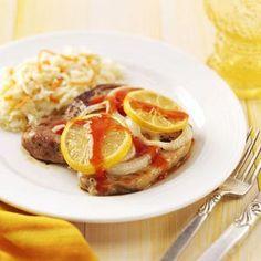 Lemon Pork Chops Recipe   Taste of Home Recipes I remember my mom making this.  It's dinner tonight.