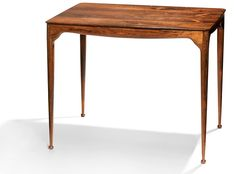 """Peder Moos: """"Museum table"""". Brazilian rosewood and boxwood inlays. Made in 1968 by cabinetmaker Peder Moos. H. 57 cm. L. 70,5 cm. W. 52,5 cm. Estimate: DKK..."""