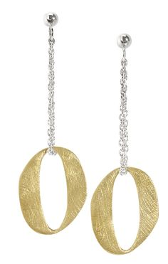 """Jorge Revilla """"Ovalos"""" matte sterling silver and yellow gold plated earrings"""