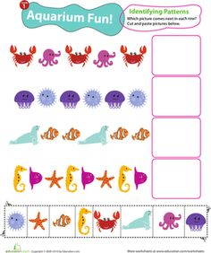 Kids practice identifying and completing patterns in this 1st grade math worksheet. Which sea creature comes next in each line?