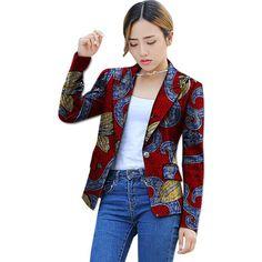 African Print Women's Suit Blazers Coat Tailored
