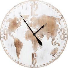 Nástěnné hodiny Antique World O80 cm - bílé Kare Design, Clock, Antiques, Wall, Home Decor, Globes, Google, Dressmaking, Retro Clock
