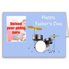 Shop Happy Father's Day with drum kit to Dad Add photo Card created by GOLDENJACKAL. Father's Day Greeting Cards, Custom Greeting Cards, Drum Kits, Happy Fathers Day, Thoughtful Gifts, Photo Cards, Drums, Ads, Prints