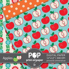 Apples - Digital Paper Printables - POP print on paper on Etsy