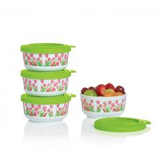 Tupperware Tulips Dessert Set: Sweet as can cups to take sweet treats on the go.Set of four mL dessert cups with sealsContainers lock together for safe and easy transportation and storageArtwork not covered by Limited Lifetime Warranty Fast Easy Meals, Dessert Cups, Sweet Treats, Canning, Tableware, Tulips, Transportation, Desserts, Seals