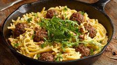 Špecle s mletým masem a krémovou omáčkou s vlašskými ořechy Mince Meat, Spaghetti, Food And Drink, Cooking Recipes, Menu, Pasta, Vegetables, Ethnic Recipes, Marcel