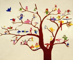 Birds in a Tree mural The children make cut-paper birds for a group mural and then draw pictures of their birds for a booklet to identify each artist. For ages 3 to Plan 2 sessions. Art Auction Projects, Class Art Projects, Collaborative Art Projects, Auction Ideas, Group Projects, Kids Crafts, Origami, Paper Birds, Spring Art