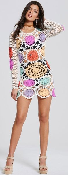 Little Mistress - Multicolor Crochet Dress