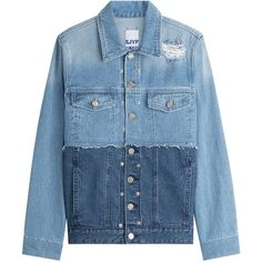 SJYP Two-Tone Denim Jacket (€227) ❤ liked on Polyvore featuring outerwear, jackets, denim jackets, jeans, blue, slim denim jacket, blue jackets, studded denim jackets, box jackets and blue jean jacket
