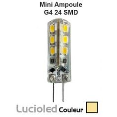Mini ampoule led G4 360° 24 leds SMD Blanc chaud (12V)