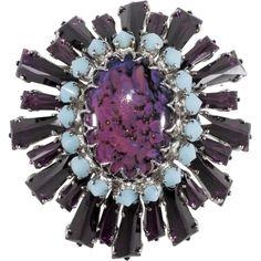 Schreiner Purple & Blue Keystone Ruffle Brooch Pin Pendant