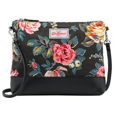 Garden Rose Canvas & Leather Cross Body Bag