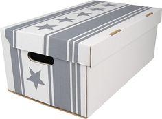 Förvaringskartonger, Stjärnor, vit/grå 3-pack, 3109075
