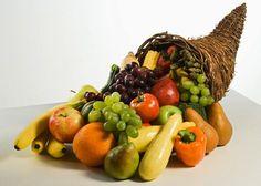 Fresh fruits and veggies in cornucopia