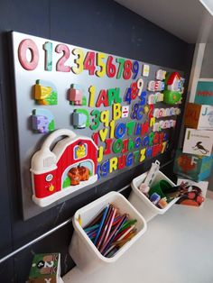 Organize your child's magnet collection with a magnetic board from Ikea by Revamp Homegoods.