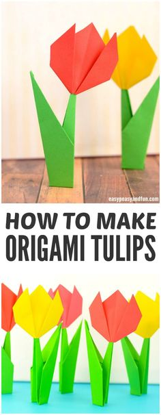 How to make origami flowers. Step by step origami tulips tutorial.