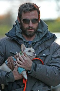 Hugh Jackman- Look at his very very happy dog!