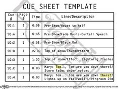 Simple Lighting Cue Sheet For Students Backstage Ideas In 2019