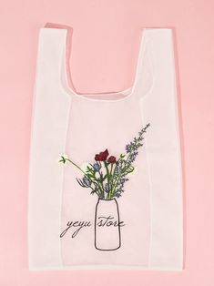 Flower Embroidery Tote Bag | SHEIN USA