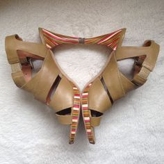 hp 12/26 schuler & sons high heel sandals ~ moss colored with multicolored 3-inch heel and thin platform ~ leather ~ made in spain ~ incredibly comfortable ~ in original box.   ❌ no trades  ❌ no PayPal Anthropologie Shoes Sandals