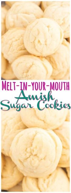 Soft, puffy, melt-in-your-mouth Amish Sugar Cookies! These could not be easier and are made with common pantry ingredients! Soft, puffy, melt-in-your-mouth Amish Sugar Cookies! These could not be easier and are made with common pantry ingredients! Köstliche Desserts, Delicious Desserts, Dessert Recipes, Yummy Food, Cake Recipes, Awesome Desserts, Party Recipes, Amish Sugar Cookies, Cookies Et Biscuits