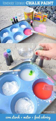 Homemade sidewalk chalk paint...a super fun craft for kids!  http://www.clubchicacircle.com