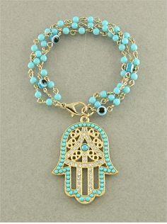 P.S. I Love You More Boutique | Turquoise Hamsa & Evil Eye Crystal Bead Bracelet | Online Store Powered by Storenvy