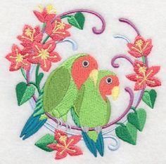 PEACH-FACED-LOVE-BIRDS-WREATH-EMBROIDERED-SET-2-BATHROOM-HAND-TOWEL-by-laura