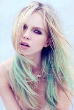 M I N T chip/ pastel mint green/ ombre/ dip dye/ duo/ free people/ rainbow hilights/ clip-in human (2) hair extensions. $23.00, via Etsy.