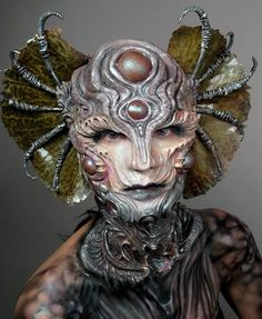 Little known fact: this aquatic queen from the moons of Jupiter got elected to her royal post mostly because she receives satellite TV feeds, including HBO, on those extesive ears and is cool enough. Makeup Fx, Movie Makeup, Scary Makeup, Diy Halloween, Halloween Makeup, Derma Wax, Face Off, Cosplay, Cinema Makeup School
