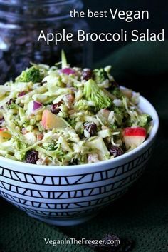 Vegan Healthy Apple Broccoli Salad with sunflower seeds. It's gluten free and … Vegan Healthy Apple Broccoli Salad with sunflower seeds. It's gluten free and made with apple cider vinegar dressing Healthy Salad Recipes, Vegetarian Recipes, Healthy Foods, Juice Recipes, Healthy Baking, Apple Cider, Crunchy Broccoli Salad, Vegetarian Broccoli Salad, Apple Salad