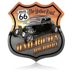 Cool Route 66 Hotrod Metal Sign adds unique decor to your home or business. Every Route 66 Hot Rod Car collector would love this unusual gift. All Route 66 Hotrod Tin Signs are pre-drilled and ready to hang.