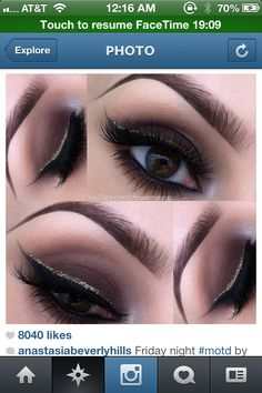 Glitter and smoky eye
