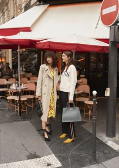(Left) & Other Stories Oversized Trench Coat, Ruffle Wrap Dress and Cross Tie Metallic Heels (Right) & Other Stories Embroidered Paris Pullover and Large Leather Chain Bag