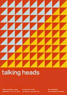 Talking Heads at Cbgb's and Omfug, New York City Support from the Shirts. Reimagined concert poster by designer Mike Joyce for his Swissted project, fusing rock music & swiss modernist design. Rock Posters, Band Posters, Concert Posters, Gig Poster, Retro Posters, Mike Joyce, International Typographic Style, International Style, Music Flyer