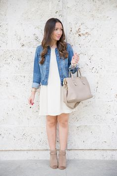 Fall Swing Dress. White Swing Dress. Taupe Ankle Boots.
