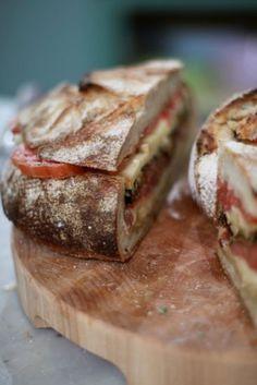 Pan bagna -the essential  picnic item  For my own recipe see - http://casarosada-algarve.blogspot.pt/2012/08/pan-bagnat.html