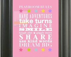 Playroom Rules Subway Art Poster Print Sign . 8x10 A4 // Dream Big Children Kids Baby Wall Decor // Graphic Typography // Bright Colorful