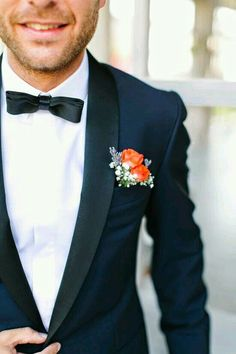 Orange Boutonniere With A Navy Tux Photo By Yeliz Atici Via