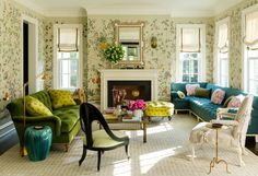 Colourful Connecticut home by Ashley Whittaker project in the March 2018 issue of House Beautiful. The gorgeous Greek Revival home is located in Darien, Connecticut and serves as a weekend escape for Whittaker's lucky clients Living Room Furniture, Home Furniture, Living Room Decor, Furniture Sets, Lounge Furniture, Bedroom Decor, Living Room Designs, Living Spaces, Living Rooms