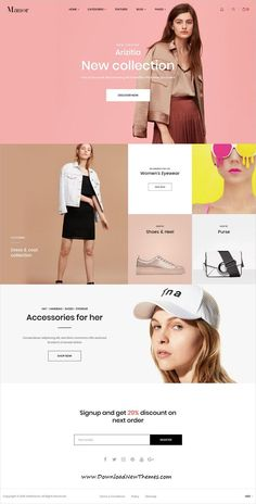 Buy Shopify - Manor Clean, Minimal , Drag & Drop by velatheme on ThemeForest. Manor Shopify theme is the best e-commerce template 2019 according to Envato Tuts+! Manor Shopify theme is the best . Website Design Inspiration, Fashion Website Design, Best Website Design, Website Design Layout, Homepage Design, Web Layout, Design Layouts, Website Designs, Minimal Website Design