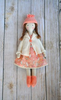 Textile doll, Tilda doll ,  Cute doll, made of natural materials, cotton. Height of 12.5 inches (31cm).  1- pink 1- green  Made with in a smoke free