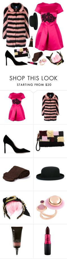 """""""The Party Girl"""" by sue-mes ❤ liked on Polyvore featuring P.A.R.O.S.H., Shrimps, Jimmy Choo, Lizzie Fortunato Jewels, Biba, Comme des Garçons, Dolce&Gabbana, Eshvi and Becca"""